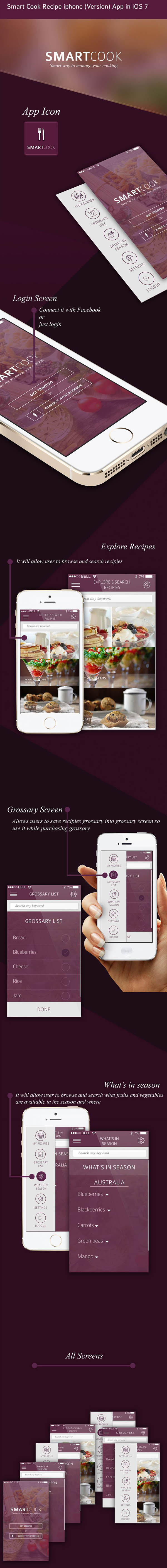 Smart Cook Recipe iphone (Version) App in iOS 7