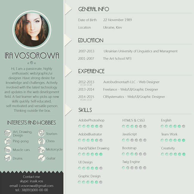Free PSD Resume Template With Mint Design 02