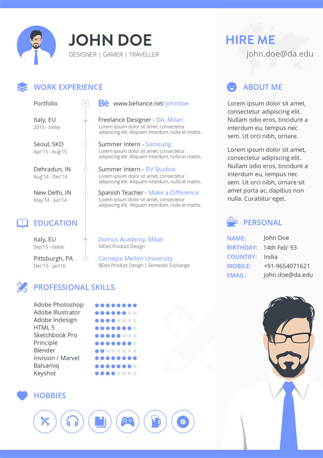 Free Sketch Resume Template 02