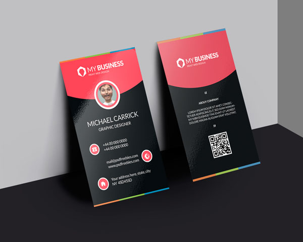 Free Vertical Business Card Template 22