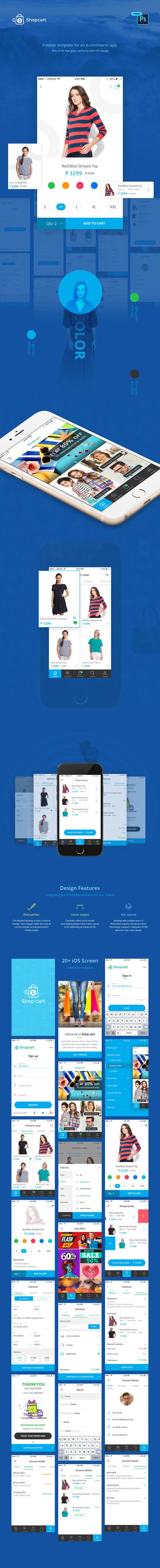 Free Mobile Ecommerce UI Kit PSD