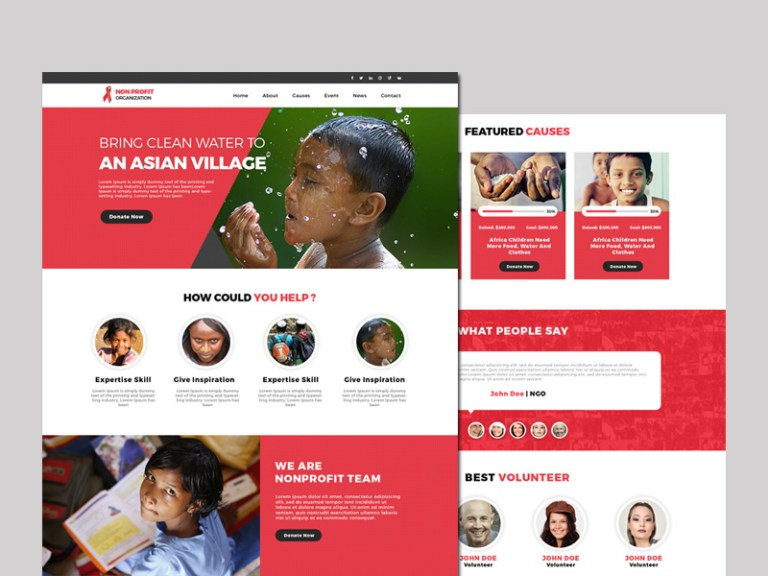 here is a free non profit psd website template with clean and modern look it is your ideal choice for for charity ngo non profit social campaign