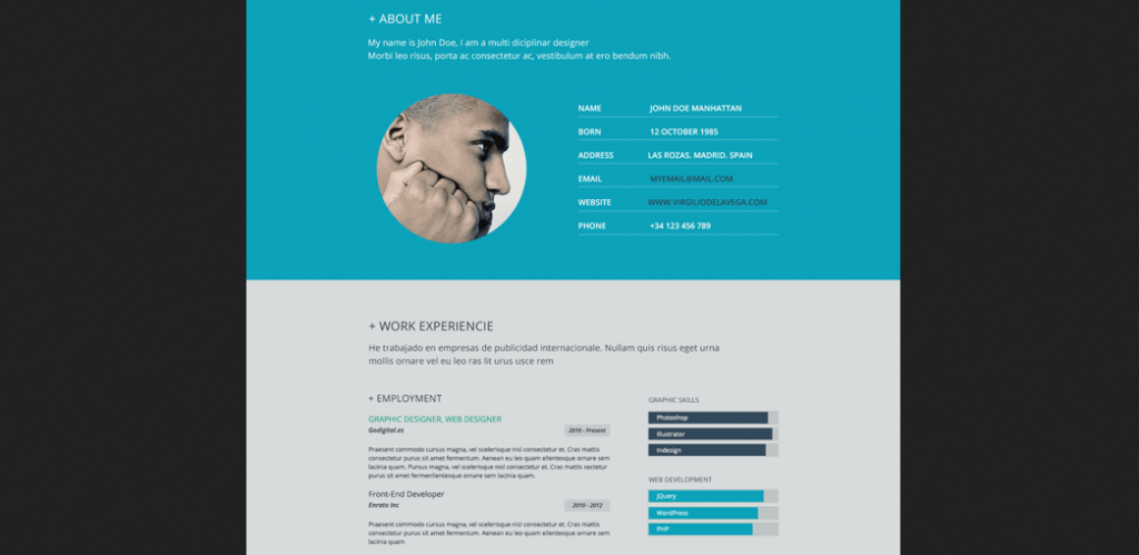 flat resume design 1 by virgilio de la vega