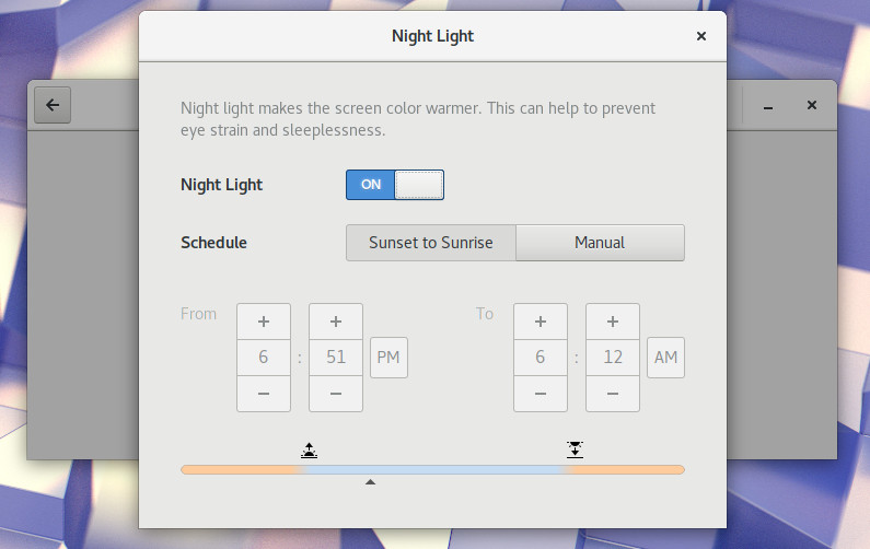 Gnome 3 Night Light Settings