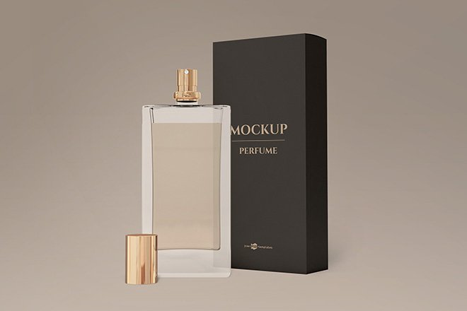 Download Perfume Bottle Mockup with Box - Free Download