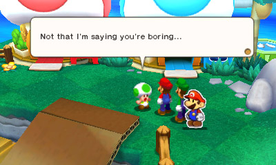 Out of all the things in this game, the Toad is gonna call US boring.