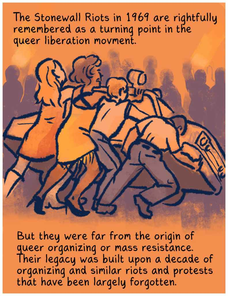 """First panel of Before Stonewall: A group of people are overturning a car. The text reads """"The Stonewall Riots in 1969 are rightfully remembered as a turning point in the queer liberation movement. But they were far from the origin of queer organizing or mass resistance. Their legacy was built upon a decade of organizing and similar riots and protests that have been largely forgotten."""""""