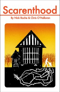 Cover of Scarenthood, showing a parent pushing a stroller away from a house and a thorny creature under the ground beneath them