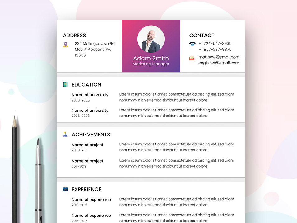Free Marketer Resume Template That Made In AI And EPS File Format Come With Clean Modern Design This Ideal For Marketing Manager Or Other