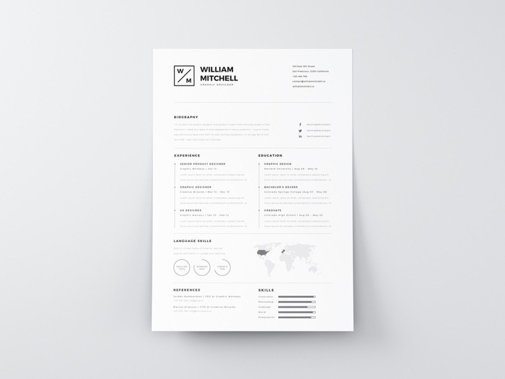 Free Clean Simple Resume Template in PSD and AI Format