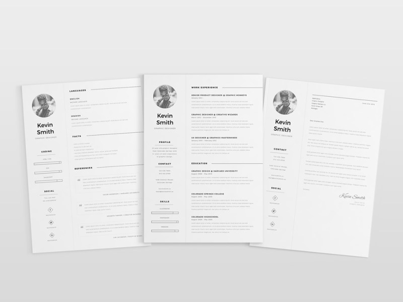 Free Clean  Simple and Elegant Resume Template in AI File Format Kevin Simple Resume