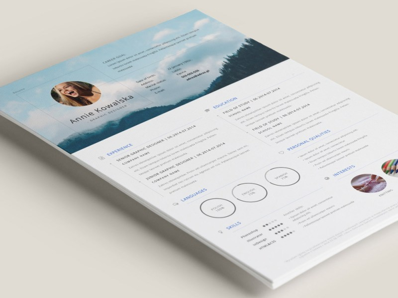 Free Minimalistic Resume CV Template In Illustrator Format Free Minimalistic Resume CV Template for your Job opportunity  This resume  template come with flexible designs and easy to customize