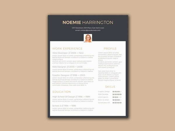 Free Elegant Resume Template with Black Color Scheme