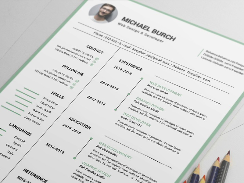 Free Clean Resume Template with Timeline Style Design