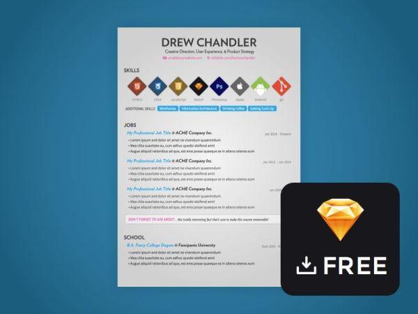 Free Clean Sketch CV Template