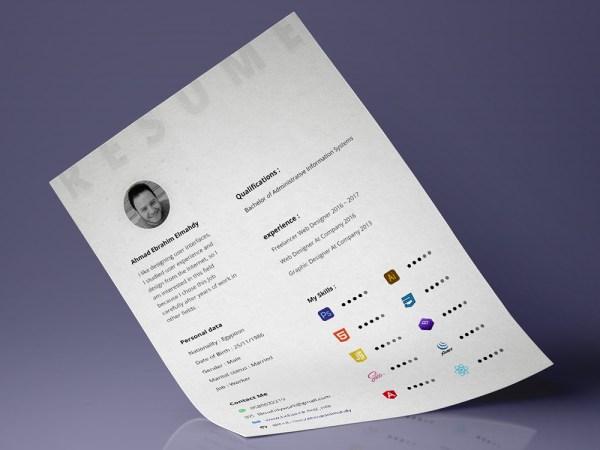 Free Minimal Resume Template for Designer