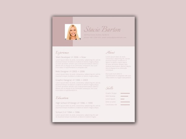 Free Female Resume Template with Feminine Style