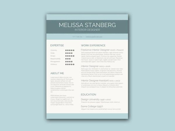 Free Resume Template for Interior Designer