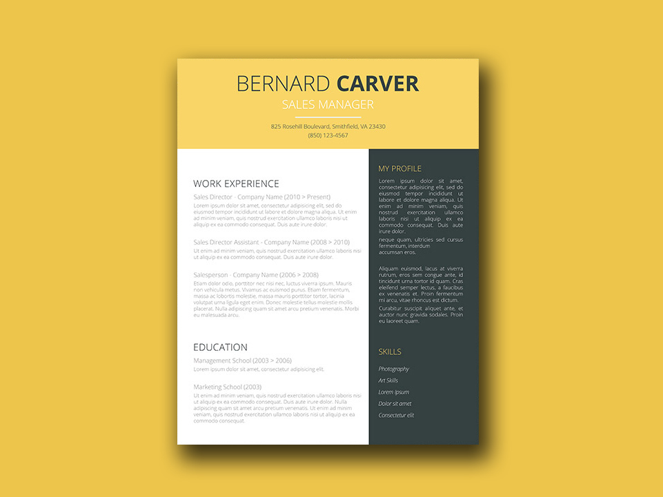 Free Manager Resume Template with Elegant Design
