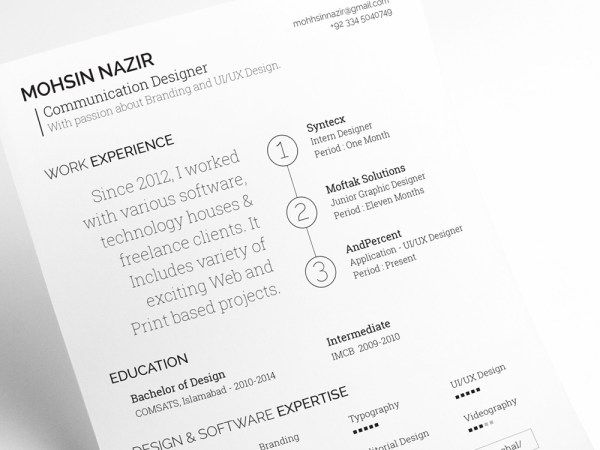 Free Typographic Resume Template with Simple Design