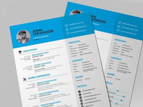 Free Blue Theme Resume Template with Creative Design