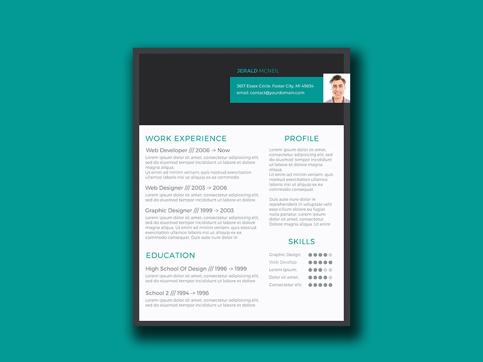 Free Resume Template with Stylish Header