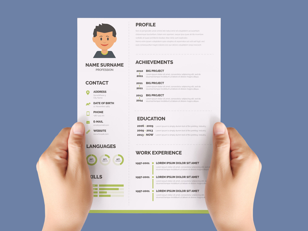 Free Flat CV Template with Green Color Scheme