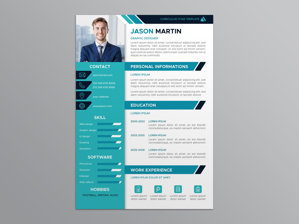 Free Flat Resume Template with Professional Design