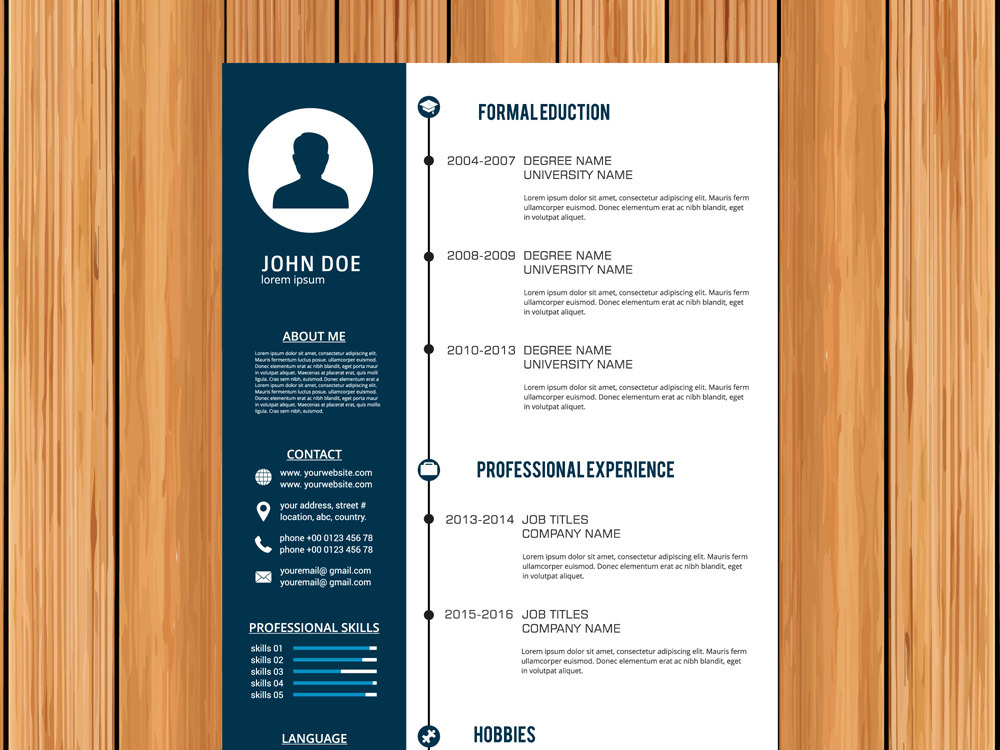 Free Vector CV Template with Timeline Style Design