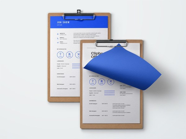 blue resume template