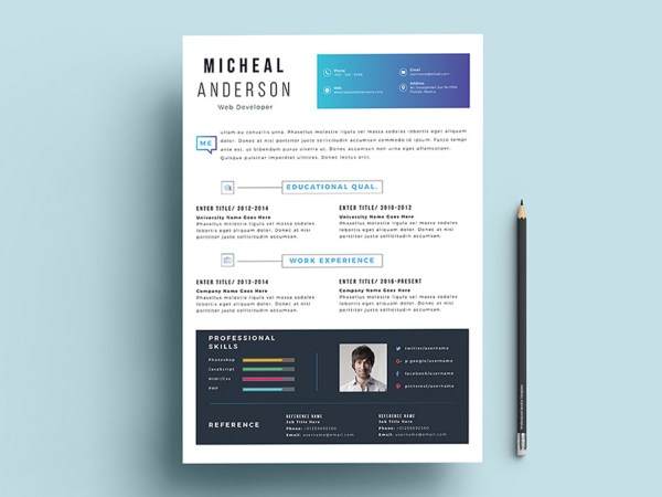 Free Fresh Professional Resume Template with Elegant Design