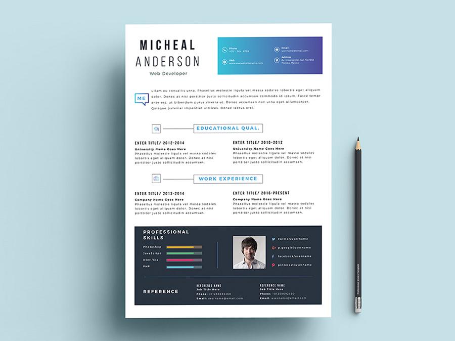 Free Fresh Professional Resume Template with Elegant Design