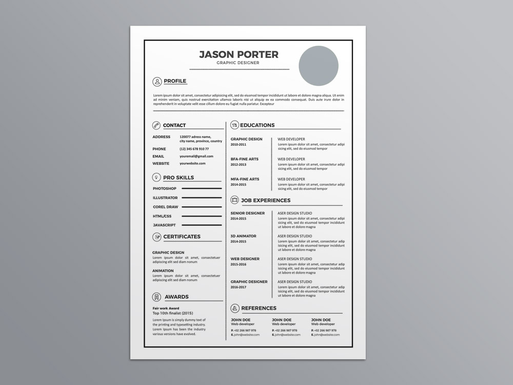 Free Light Elegant CV Template In Illustrator Format