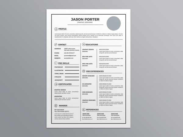 Free Light Elegant CV Template In Illustrator Format