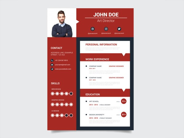 Free Modern Red Resume Template with Casual Design