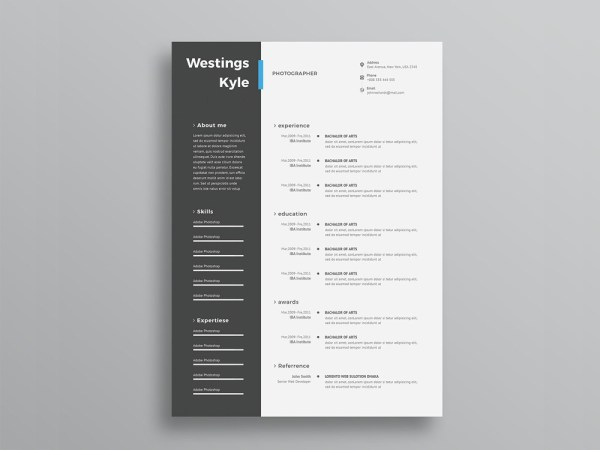 Free Resume Template with Elegant Design in PSD File Format