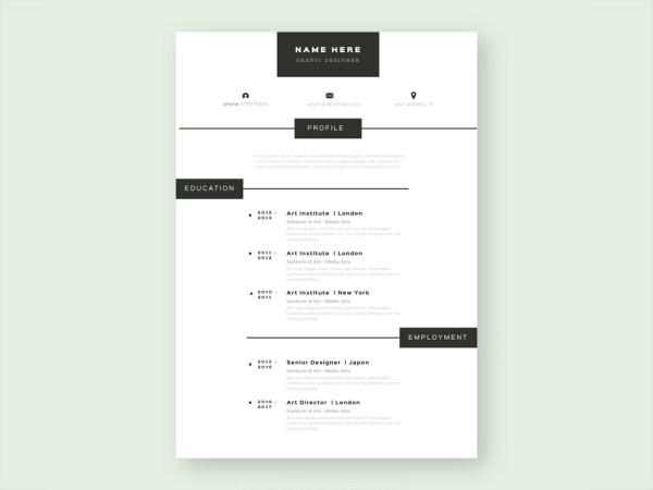 Free Simple Vector CV Template For Your Job Hunting