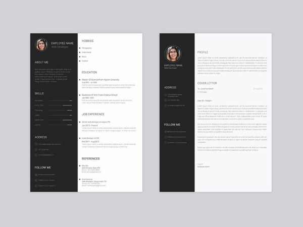 Free Minimal Personal Resume Template with Cover Letter
