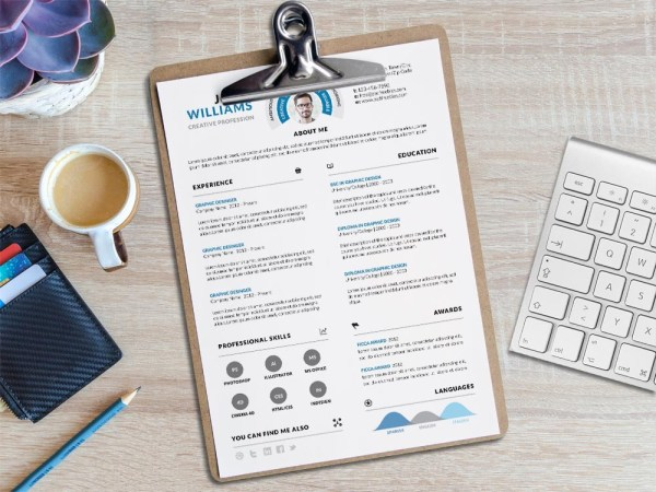 Clean Infographic PSD Resume