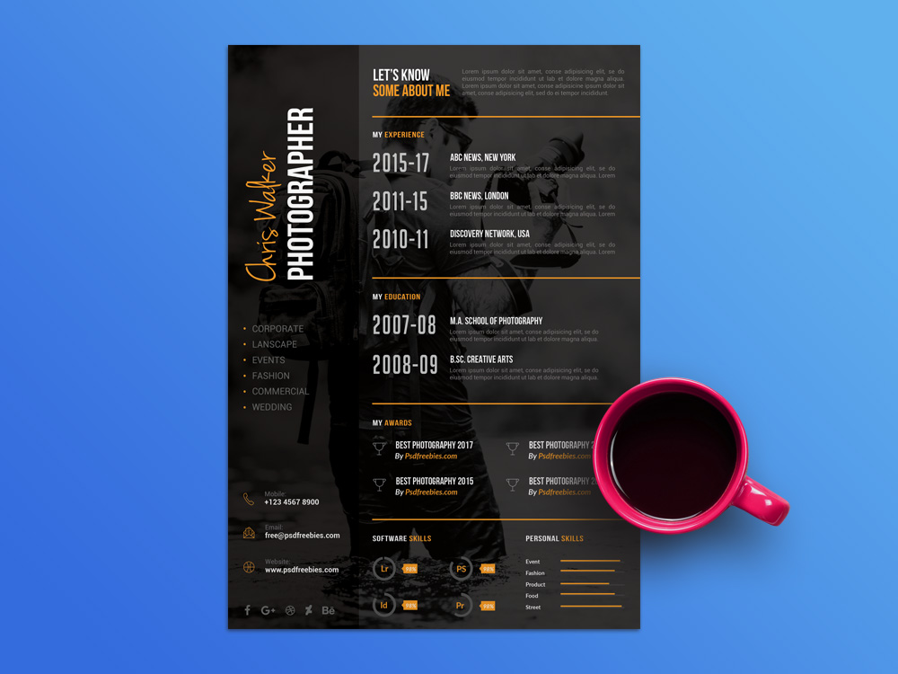 Free Photographer Resume Template with Dark Style Design