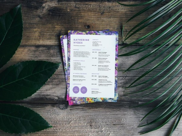 Free Resume Template with Purple Flowers Accent