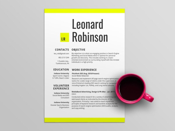 Free Volunteer Resume Template with Modern Design