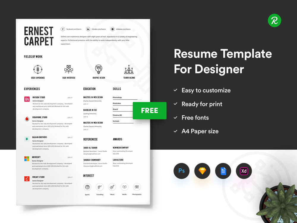 Free Infographic Resume Template with Portfolio and Cover Letter