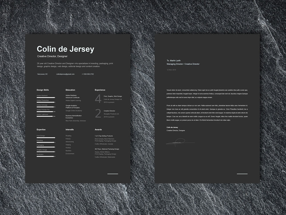 Free Elegant Black Cv Template With Cover Letter Page