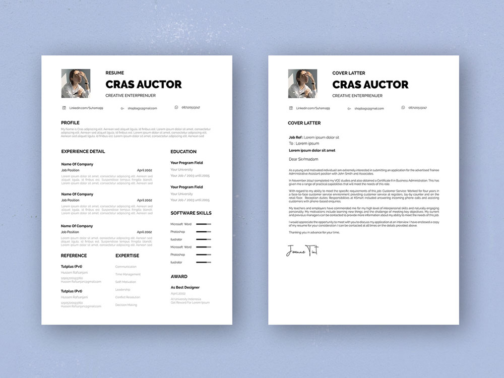 Free Entrepreneur Resume Template With Cover Letter Page