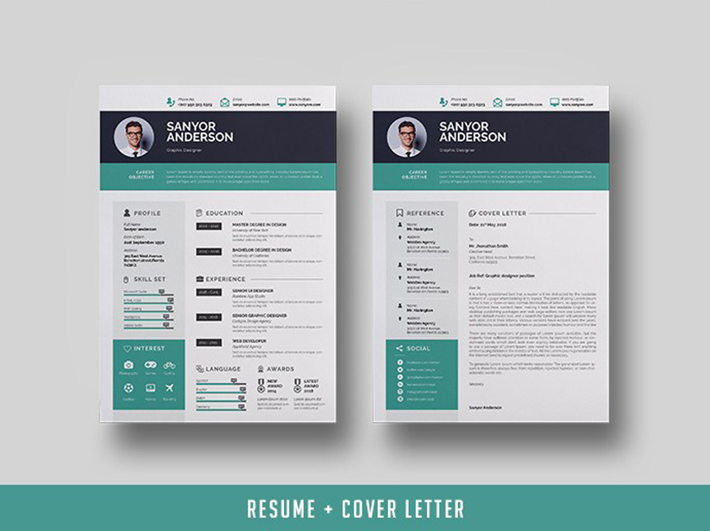 free infographic indesign resume template with cover