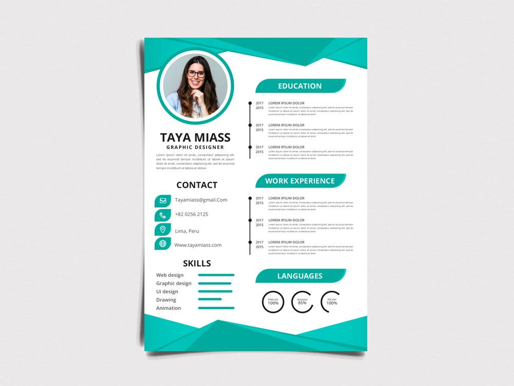 Taya Resume - Free Modern Resume template with in Illustrator Format