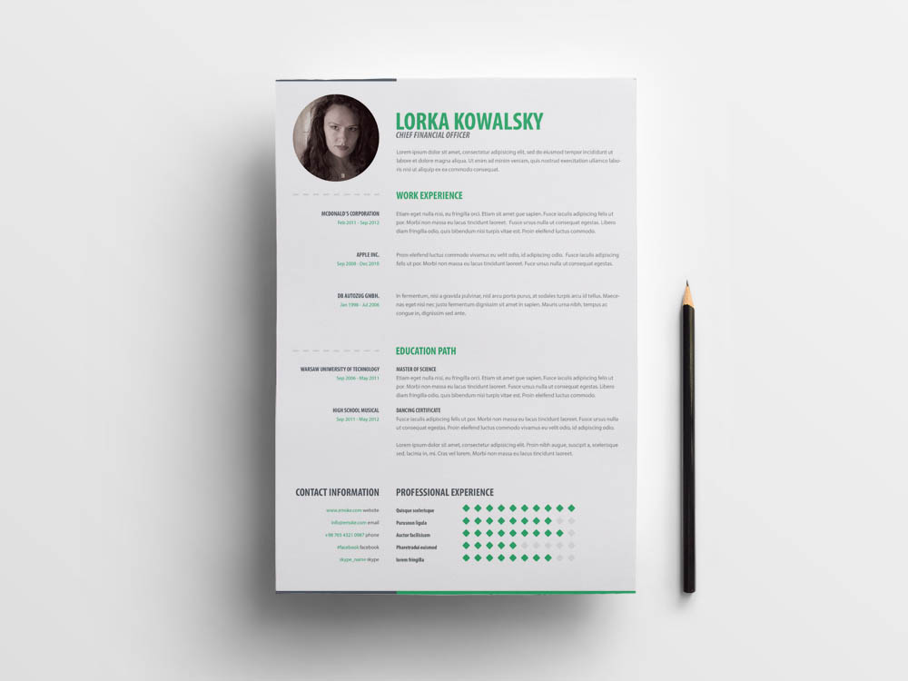 free simple creative cv template in with cover letter page
