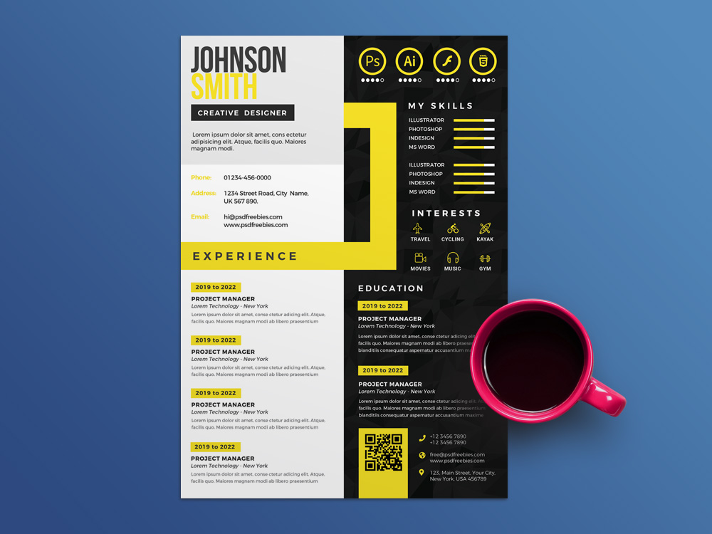 Free Creative Multicolor Cv Template In Psd File Format