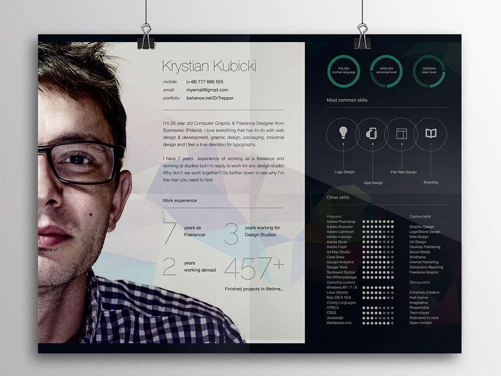 free creative horizontal curriculum vitae template in psd file format